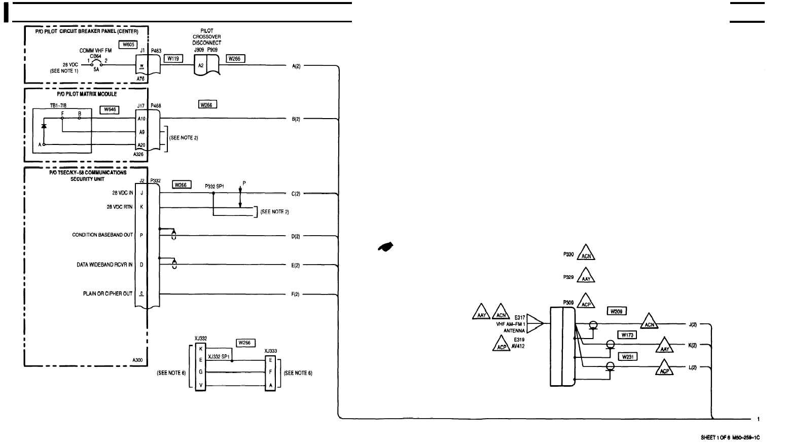 TM 1 1520 238 T 10_278_1 6 4 vhf am fm radio set an arc 186 (adh) wiring diagram sheet 1 arc wiring diagram at panicattacktreatment.co
