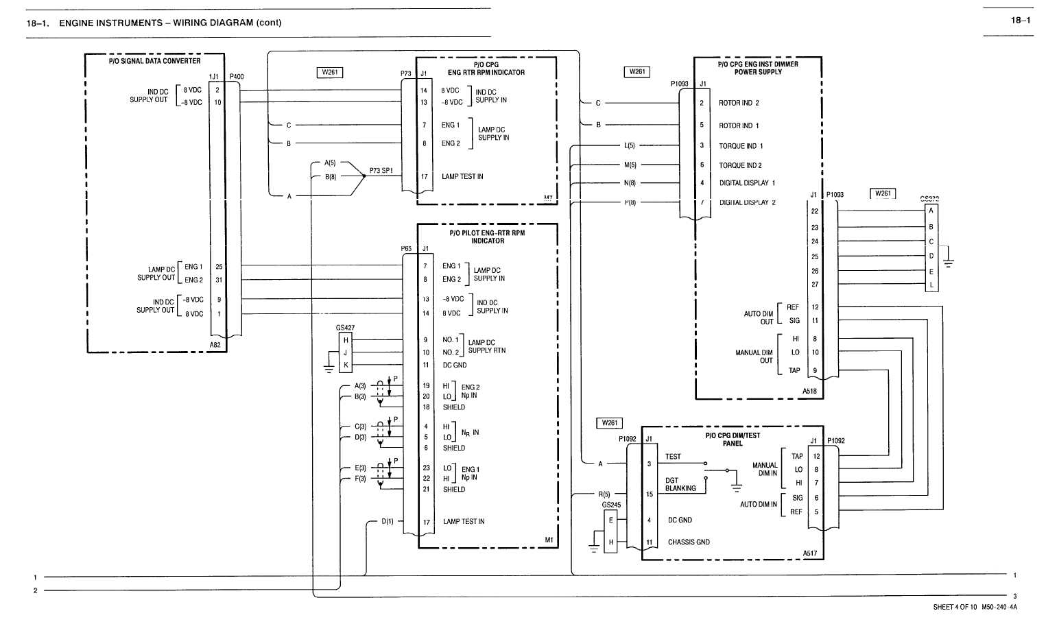 18-1  engine instruments -wiring diagram  cont